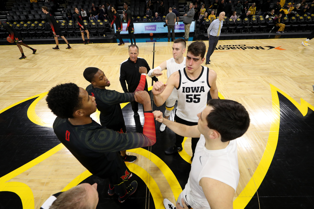 Iowa Hawkeyes guard Connor McCaffery (30), forward Luka Garza (55), and forward Ryan Kriener (15) against the Maryland Terrapins Friday, January 10, 2020 at Carver-Hawkeye Arena. (Brian Ray/hawkeyesports.com)