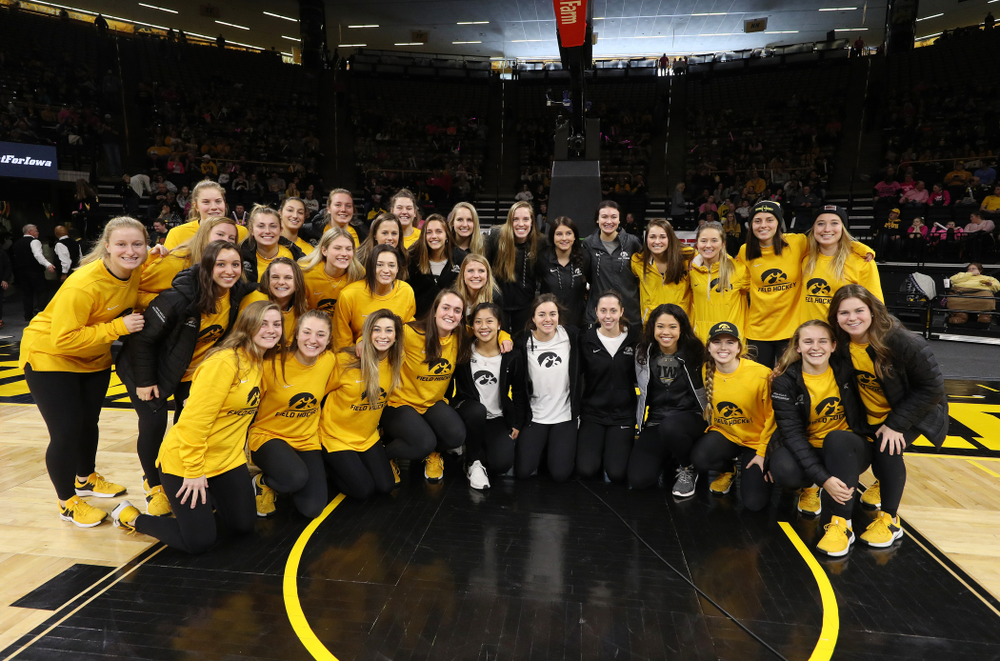 The Iowa Field Hockey Team, Soccer Team, Tennis Team, and Volleyball team play Simon Sez as they celebrate National Girls and Women in Sports day during halftime of the Iowa Hawkeyes game against the seventh ranked Maryland Terrapins Sunday, February 17, 2019 at Carver-Hawkeye Arena. (Brian Ray/hawkeyesports.com)