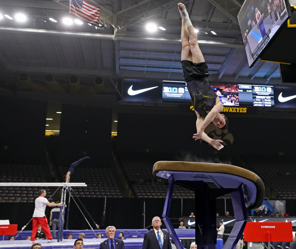 Iowa's Jake Brodarzon competes in the vault during the first day of the Big Ten Men's Gymnastics Championships at Carver-Hawkeye Arena in Iowa City on Friday, Apr. 5, 2019. (Stephen Mally/hawkeyesports.com)