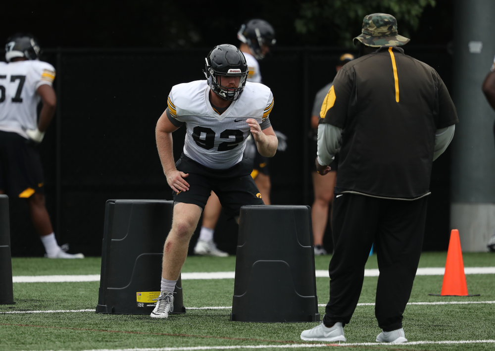 Iowa Hawkeyes defensive lineman John Waggoner (92) during practice No. 4 of Fall Camp Monday, August 6, 2018 at the Hansen Football Performance Center. (Brian Ray/hawkeyesports.com)