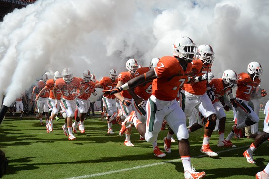 The University of Miami Hurricanes, ranked #7 in the AP/BCS poles, play the Wake Forest Demon Deacons at Sun Life Stadium on October 26, 2013.   Photo...