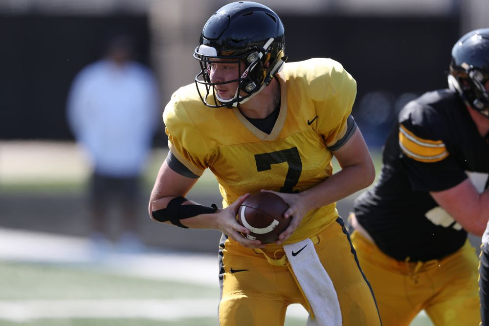 Iowa Hawkeyes quarterback Spencer Petras (7) during Fall Camp Practice No. 5 Tuesday, August 6, 2019 at the Ronald D. and Margaret L. Kenyon Football Practice Facility. (Brian Ray/hawkeyesports.com)