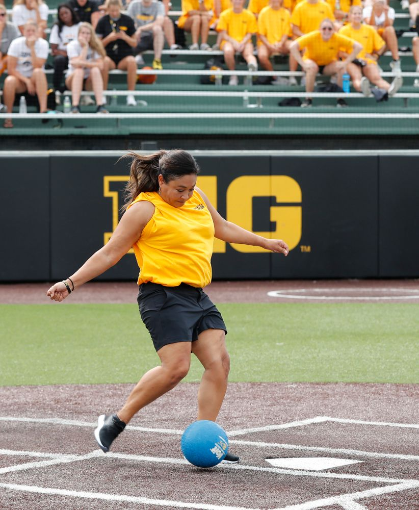 Head Women's Gymnastics Coach Larissa Libby during the Iowa Student Athlete Kickoff Kickball game  Sunday, August 19, 2018 at Duane Banks Field. (Brian Ray/hawkeyesports.com)