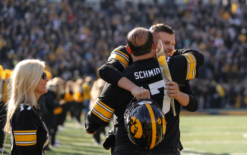 Iowa Hawkeyes quarterback Ryan Schmidt (17) during Senior Day festivities before their game against the Illinois Fighting Illini Saturday, November 23, 2019 at Kinnick Stadium. (Brian Ray/hawkeyesports.com)