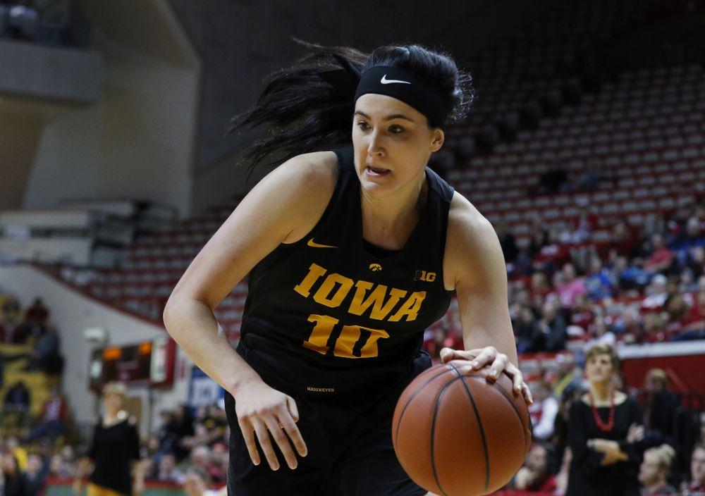 Iowa Hawkeyes forward Megan Gustafson (10) against the Indiana Hoosiers Thursday, February 21, 2019 at Simon Skjodt Assembly Hall. (Brian Ray/hawkeyesports.com)