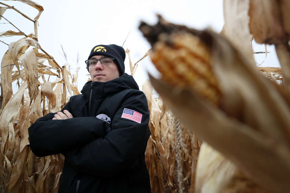 National Champion Spencer Lee poses for a photo during the teamÕs annual media day Wednesday, October 30, 2019 at Kroul Family Farms in Mount Vernon. (Brian Ray/hawkeyesports.com)