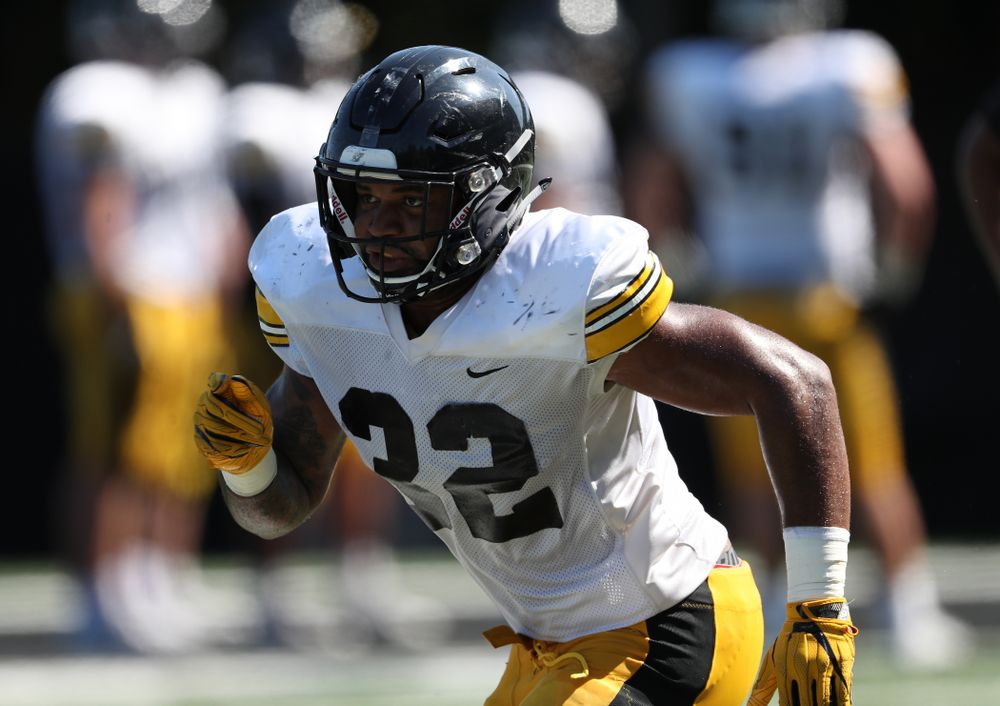 Iowa Hawkeyes linebacker Djimon Colbert (32) during Fall Camp Practice No. 5 Tuesday, August 6, 2019 at the Ronald D. and Margaret L. Kenyon Football Practice Facility. (Brian Ray/hawkeyesports.com)