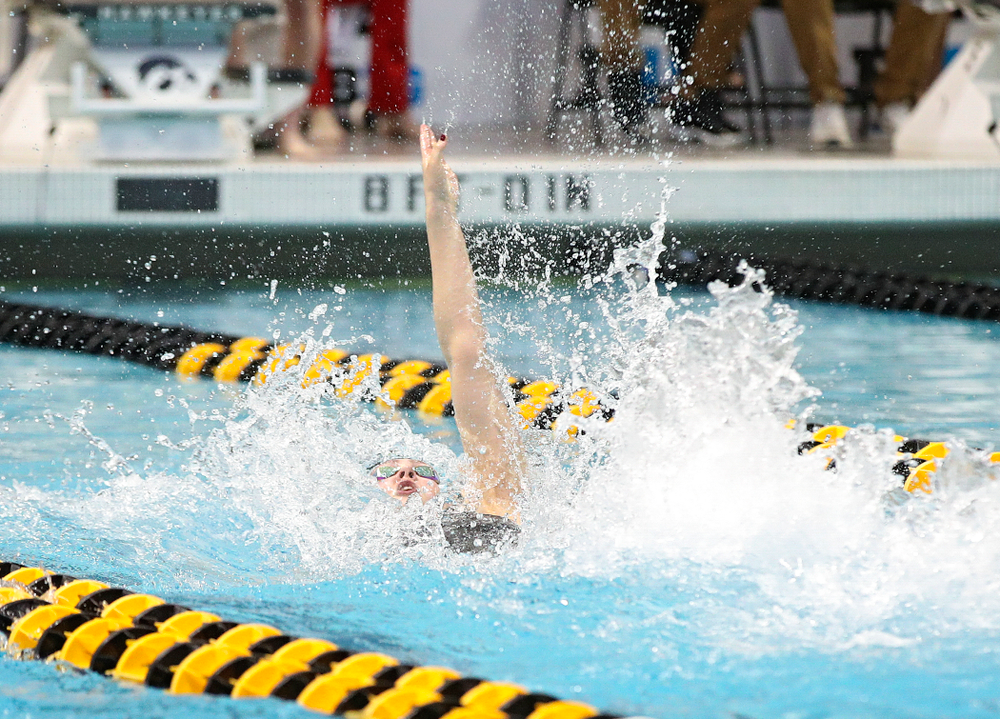 Iowa's Emilia Sansome swims the backstroke section of the 200 yard medley relay event during the 2020 Big Ten Women's Swimming and Diving Championships at the Campus Recreation and Wellness Center in Iowa City on Wednesday, February 19, 2020. (Stephen Mally/hawkeyesports.com)