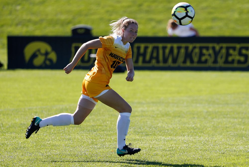 Iowa Hawkeyes midfielder Natalie Winters (10) scores a goal during a game against Indiana at the Iowa Soccer Complex on September 23, 2018. (Tork Mason/hawkeyesports.com)