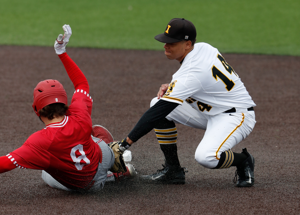Iowa Hawkeyes second baseman Zion Pettigrew (14) during a double header against the Indiana Hoosiers Friday, March 23, 2018 at Duane Banks Field. (Brian Ray/hawkeyesports.com)