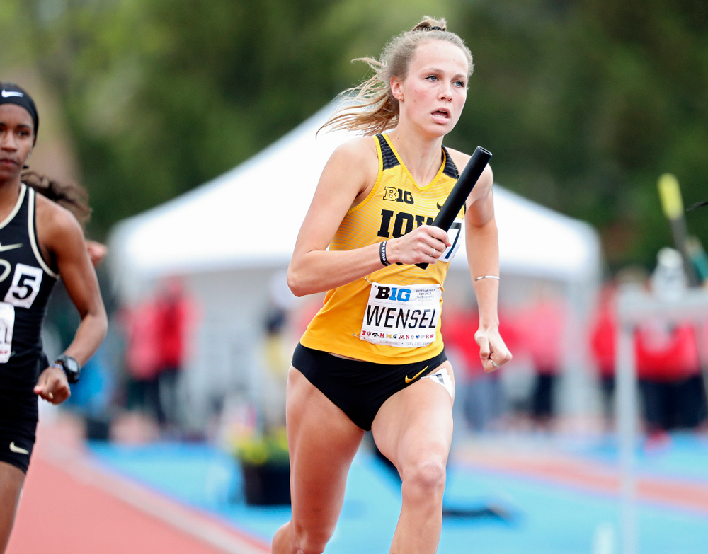 Iowa's Payton Wensel runs her section of the women's 1600 meter relay event on the third day of the Big Ten Outdoor Track and Field Championships at Francis X. Cretzmeyer Track in Iowa City on Sunday, May. 12, 2019. (Stephen Mally/hawkeyesports.com)