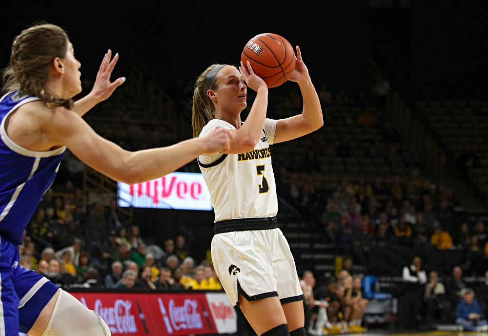Iowa Hawkeyes guard Makenzie Meyer (3) makes a basket during the first quarter of their game at Carver-Hawkeye Arena in Iowa City on Saturday, December 21, 2019. (Stephen Mally/hawkeyesports.com)