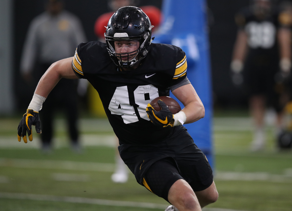 Iowa Hawkeyes tight end Bryce Schulte (48) during preparation for the 2019 Outback Bowl Monday, December 17, 2018 at the Hansen Football Performance Center. (Brian Ray/hawkeyesports.com)