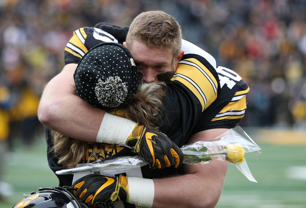 Iowa Hawkeyes defensive end Parker Hesse (40) during senior day activities before their game against the Nebraska Cornhuskers Friday, November 23, 2018 at Kinnick Stadium. (Brian Ray/hawkeyesports.com)