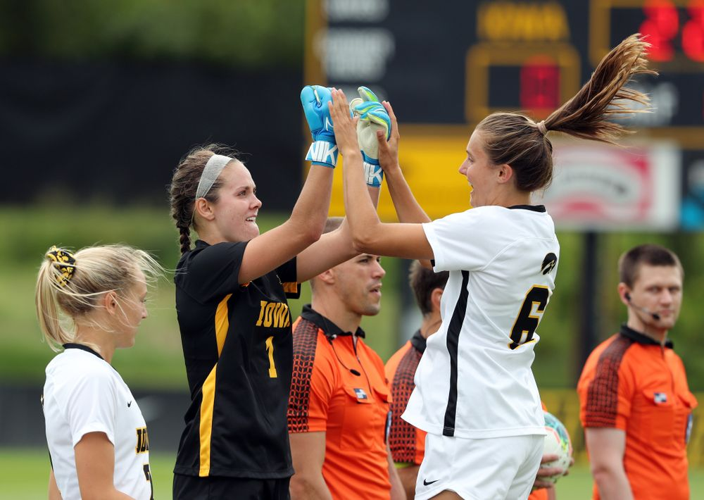 Iowa Hawkeyes goalkeeper Claire Graves (1) and midfielder Isabella Blackman (6) during a 6-1 win over Northern Iowa Sunday, August 25, 2019 at the Iowa Soccer Complex. (Brian Ray/hawkeyesports.com)