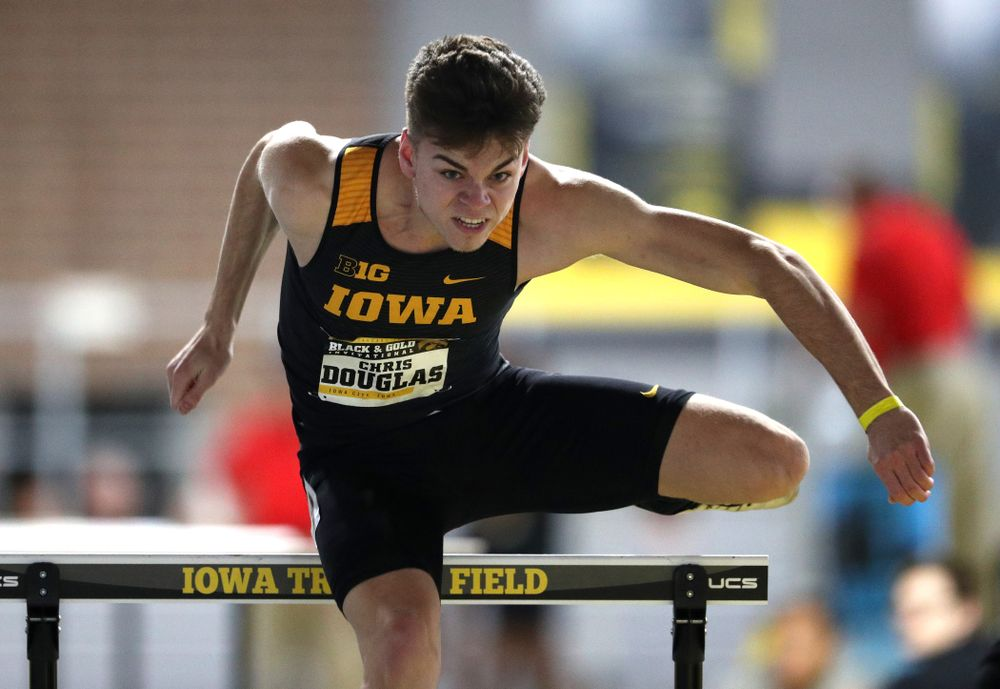 Iowa's Chris Douglas competes in the 60-meter hurdles during the Black and Gold Premier meet Saturday, January 26, 2019 at the Recreation Building. (Brian Ray/hawkeyesports.com)