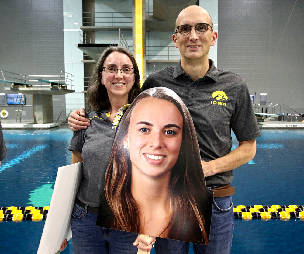 Iowa's Meghan Hackett is honored on senior day before their meet at the Campus Recreation and Wellness Center in Iowa City on Friday, February 7, 2020. (Stephen Mally/hawkeyesports.com)