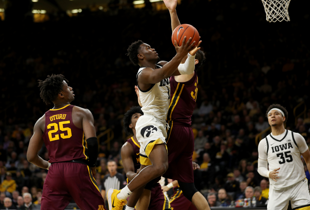 Iowa Hawkeyes guard Joe Toussaint (1) against the Minnesota Golden Gophers Monday, December 9, 2019 at Carver-Hawkeye Arena. (Brian Ray/hawkeyesports.com)