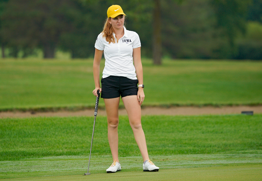 Iowa's Annalee Dannegger waits to putt during their dual against Northern Iowa at Pheasant Ridge Golf Course in Cedar Falls on Monday, Sep 2, 2019. (Stephen Mally/hawkeyesports.com)