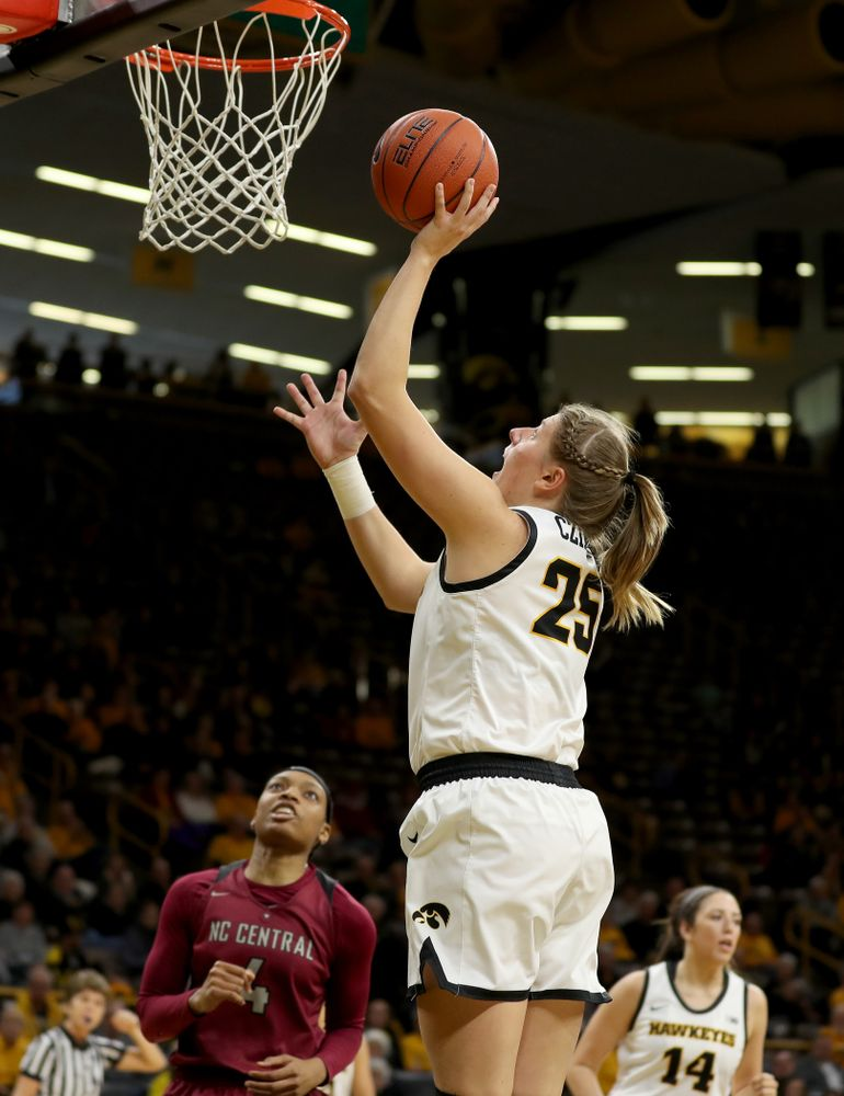 Iowa Hawkeyes forward/center Monika Czinano (25) against North Carolina Central Saturday, December 14, 2019 at Carver-Hawkeye Arena. (Brian Ray/hawkeyesports.com)