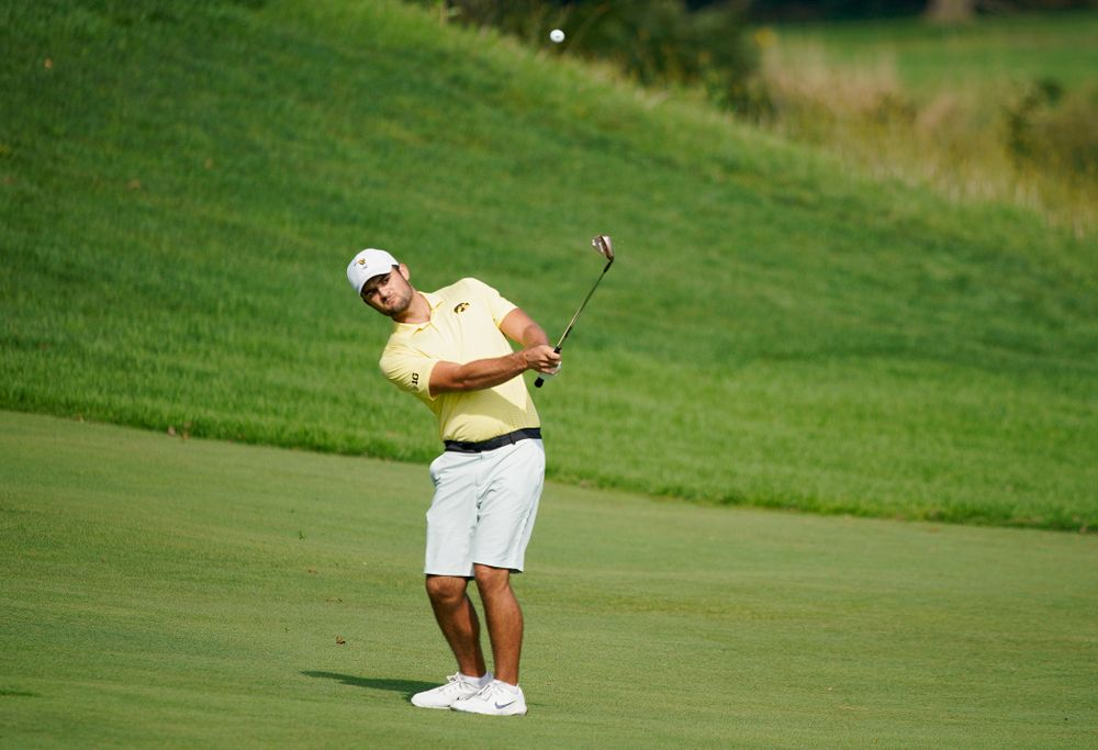 Iowa's Gonzalo Leal hits from the fairway during the third day of the Golfweek Conference Challenge at the Cedar Rapids Country Club in Cedar Rapids on Tuesday, Sep 17, 2019. (Stephen Mally/hawkeyesports.com)