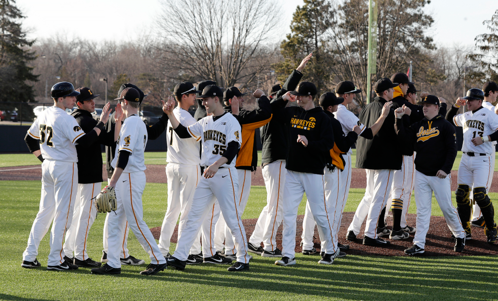 The Iowa Hawkeyes against Northern Illinois Tuesday, April 17, 2018 at Duane Banks Field. (Brian Ray/hawkeyesports.com)