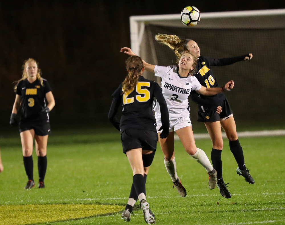 Iowa Hawkeyes midfielder Natalie Winters (10) heads the ball during a game against Michigan State at the Iowa Soccer Complex on October 12, 2018. (Tork Mason/hawkeyesports.com)