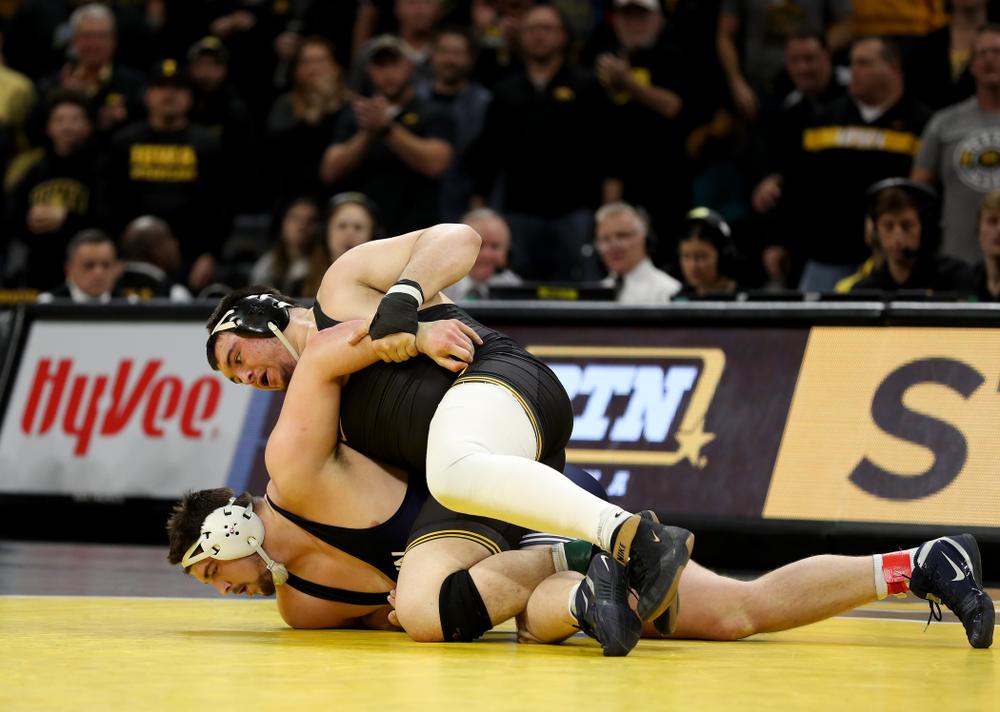 Iowa's Tony Cassioppi wrestles Penn State's Seth Nevills  at heavyweight Friday, January 31, 2020 at Carver-Hawkeye Arena. Cassioppi won the match 6-0. (Brian Ray/hawkeyesports.com)