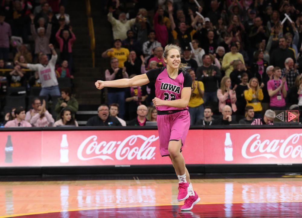 Iowa Hawkeyes guard Kathleen Doyle (22) against the seventh ranked Maryland Terrapins Sunday, February 17, 2019 at Carver-Hawkeye Arena. (Brian Ray/hawkeyesports.com)