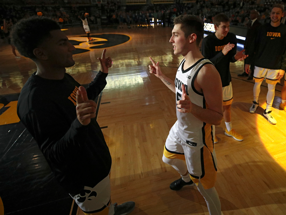 Iowa Hawkeyes guard CJ Fredrick (5) is introduced before their exhibition game against Lindsey Wilson College at Carver-Hawkeye Arena in Iowa City on Monday, Nov 4, 2019. (Stephen Mally/hawkeyesports.com)