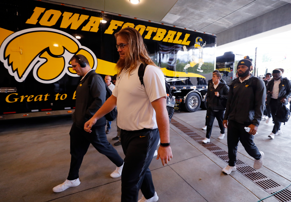 The Iowa Hawkeyes arrive for their game against the Indiana Hoosiers Saturday, October 13, 2018 at Memorial Stadium, in Bloomington, Ind. (Brian Ray/hawkeyesports.com)