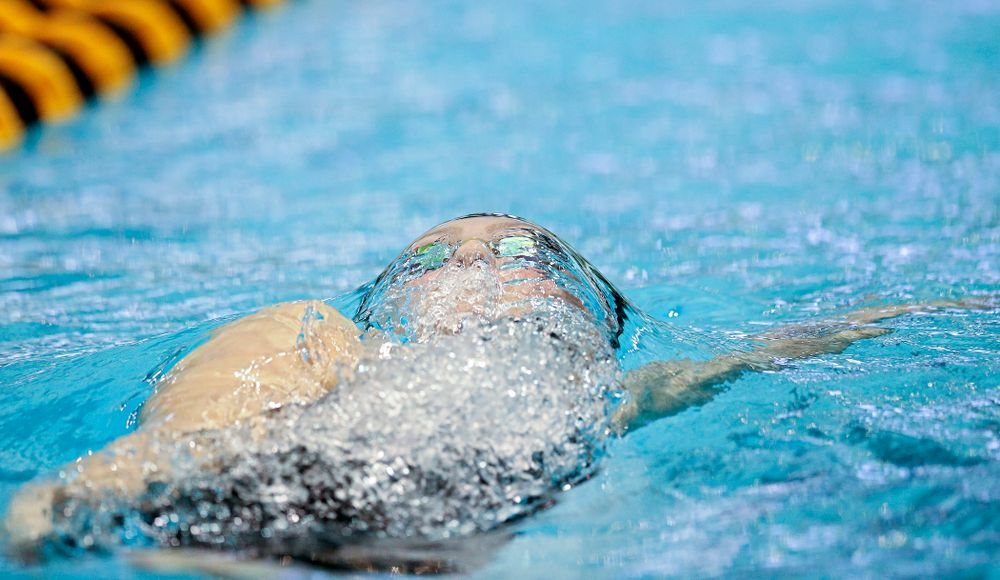 Iowa's Emilia Sansome swims the women's 200 yard backstroke final event during the 2020 Women's Big Ten Swimming and Diving Championships at the Campus Recreation and Wellness Center in Iowa City on Saturday, February 22, 2020. (Stephen Mally/hawkeyesports.com)