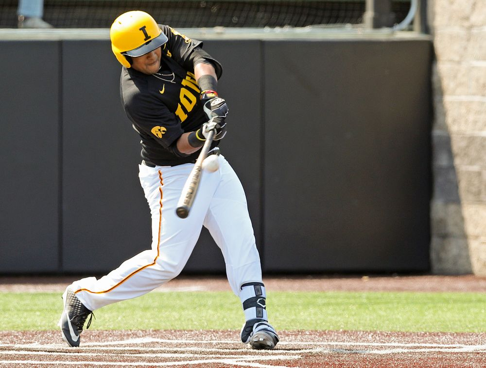 Iowa Hawkeyes designated hitter Izaya Fullard (20) bats during the first inning of their game against Rutgers at Duane Banks Field in Iowa City on Saturday, Apr. 6, 2019. (Stephen Mally/hawkeyesports.com)