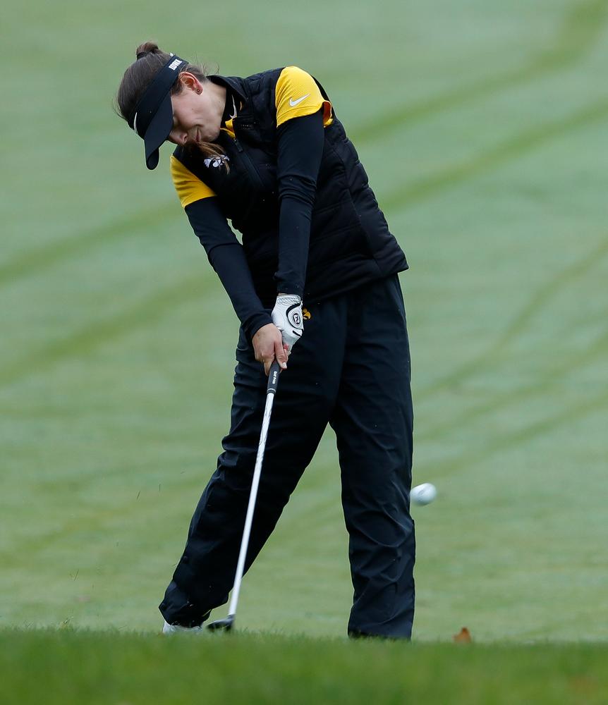 Iowa's Brett Permann hits an approach shot during the Diane Thomason Invitational at Finkbine Golf Course on September 29, 2018. (Tork Mason/hawkeyesports.com)