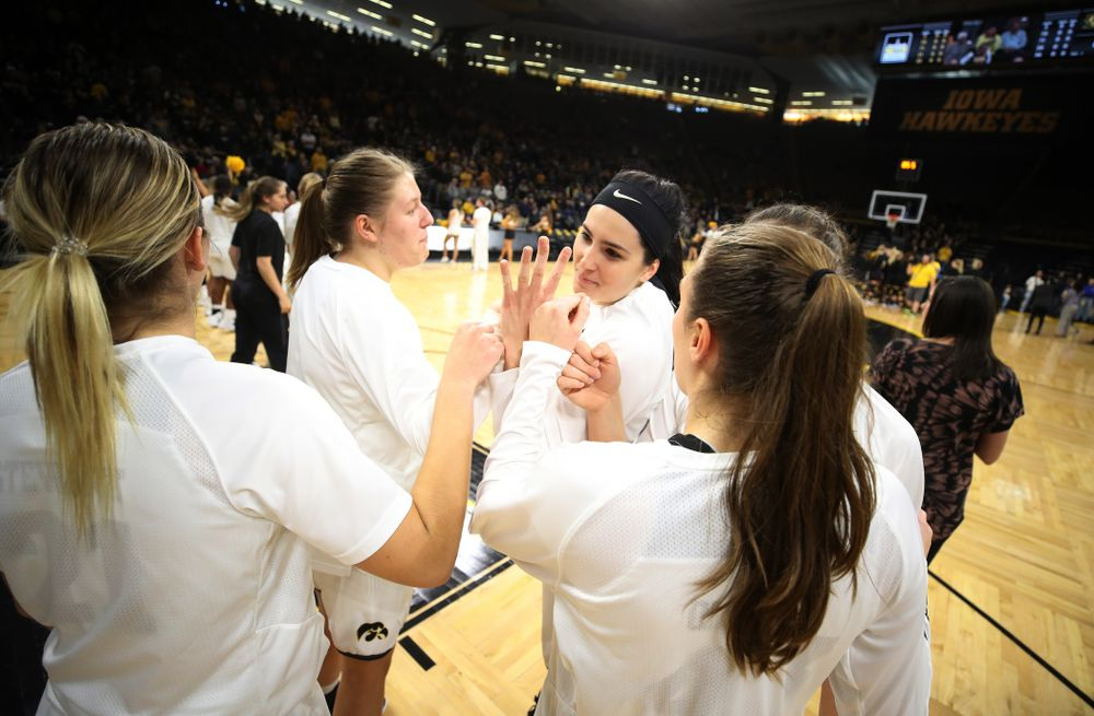 Iowa Hawkeyes forward Megan Gustafson (10) and forward/center Monika Czinano (25) against the Northern Iowa Panthers in the Hy-Vee Classic Sunday, December 16, 2018 at Carver-Hawkeye Arena. (Brian Ray/hawkeyesports.com)