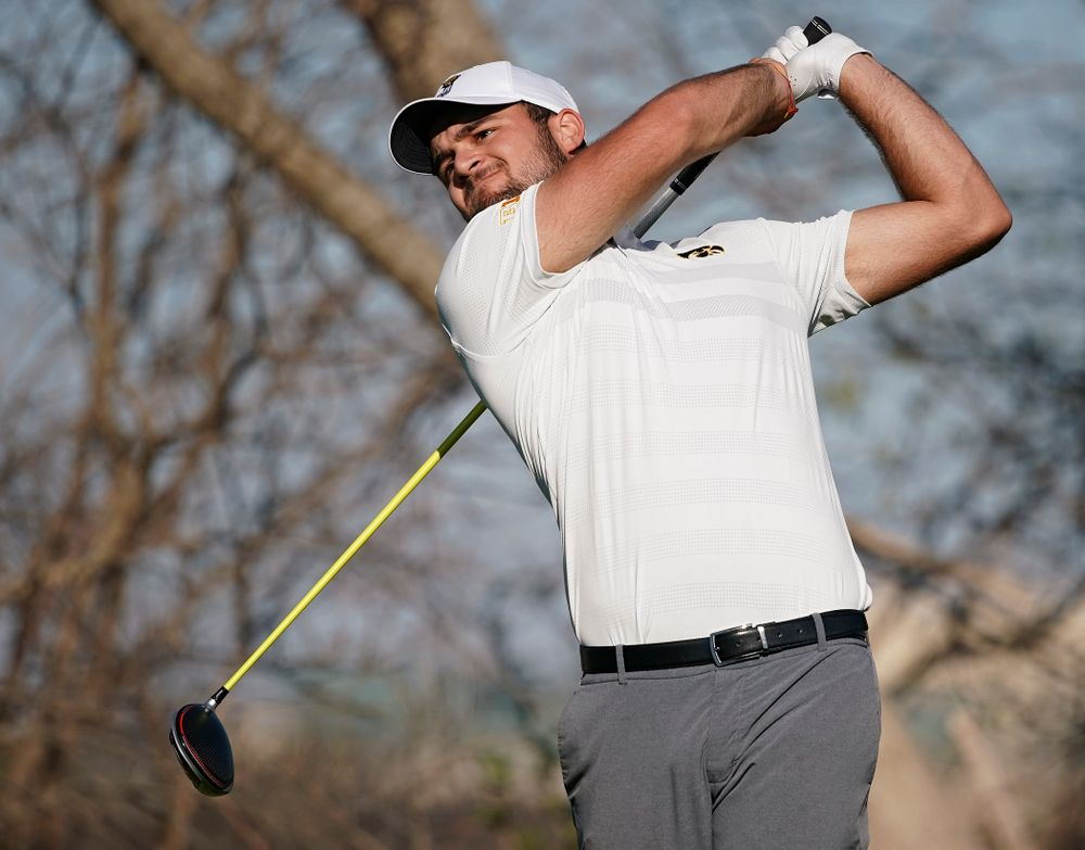 Iowa's Gonzalo Leal tees off during the second round of the Hawkeye Invitational at Finkbine Golf Course in Iowa City on Saturday, Apr. 20, 2019. (Stephen Mally/hawkeyesports.com)