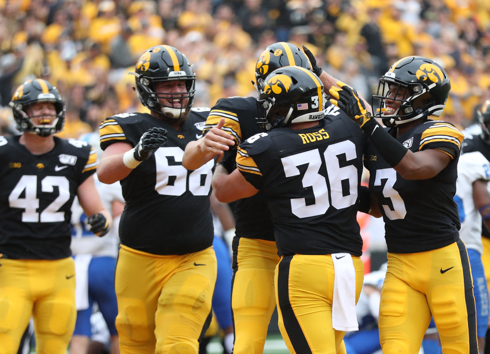 Iowa Hawkeyes fullback Brady Ross (36) against Middle Tennessee State Saturday, September 28, 2019 at Kinnick Stadium. (Max Allen/hawkeyesports.com)