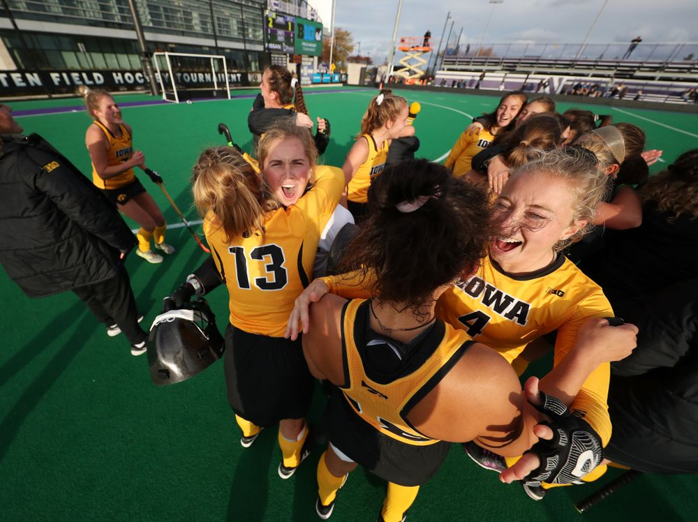 The Iowa Hawkeyes celebrate their 2-1 victory over the Michigan Wolverines in the semi-finals of the Big Ten Tournament Friday, November 2, 2018 at Lakeside Field on the campus of Northwestern University in Evanston, Ill. (Brian Ray/hawkeyesports.com)