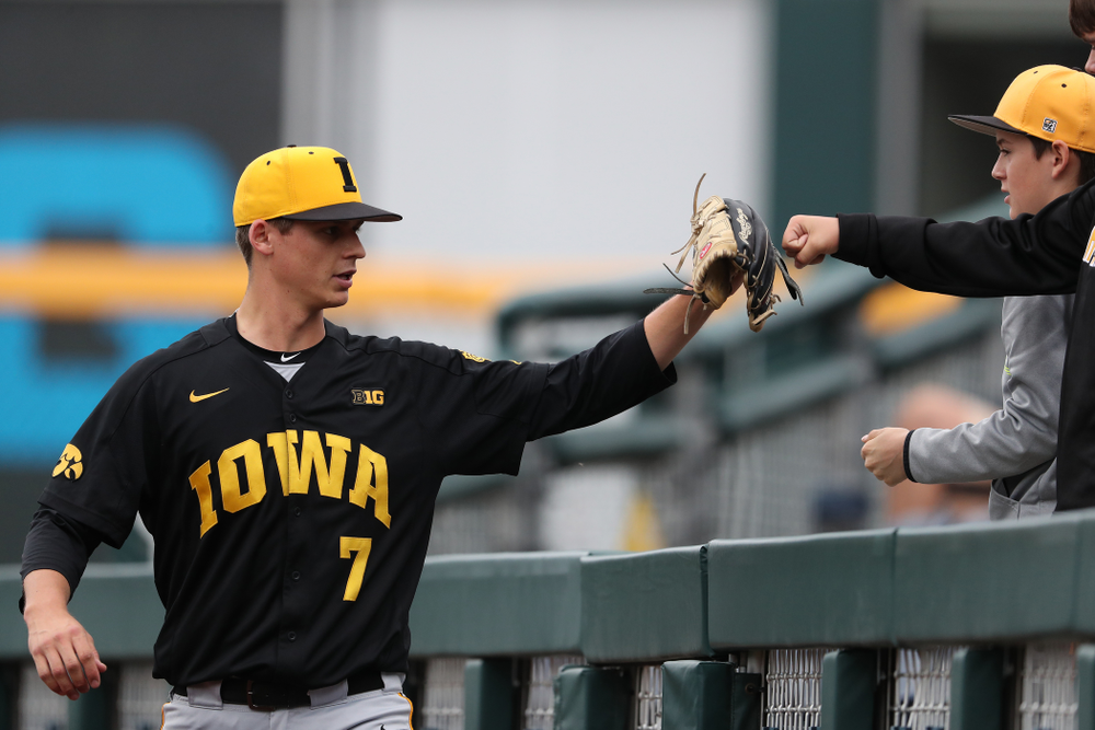 Iowa Hawkeyes Grant Judkins (7) against the Nebraska Cornhuskers in the first round of the Big Ten Baseball Tournament Friday, May 24, 2019 at TD Ameritrade Park in Omaha, Neb. (Brian Ray/hawkeyesports.com)