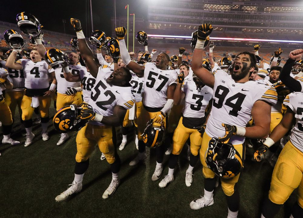 "The Iowa Hawkeyes sing the ""Fight Song"" following their game against the Illinois Fighting Illini Saturday, November 17, 2018 at Memorial Stadium in Champaign, Ill. (Brian Ray/hawkeyesports.com)"