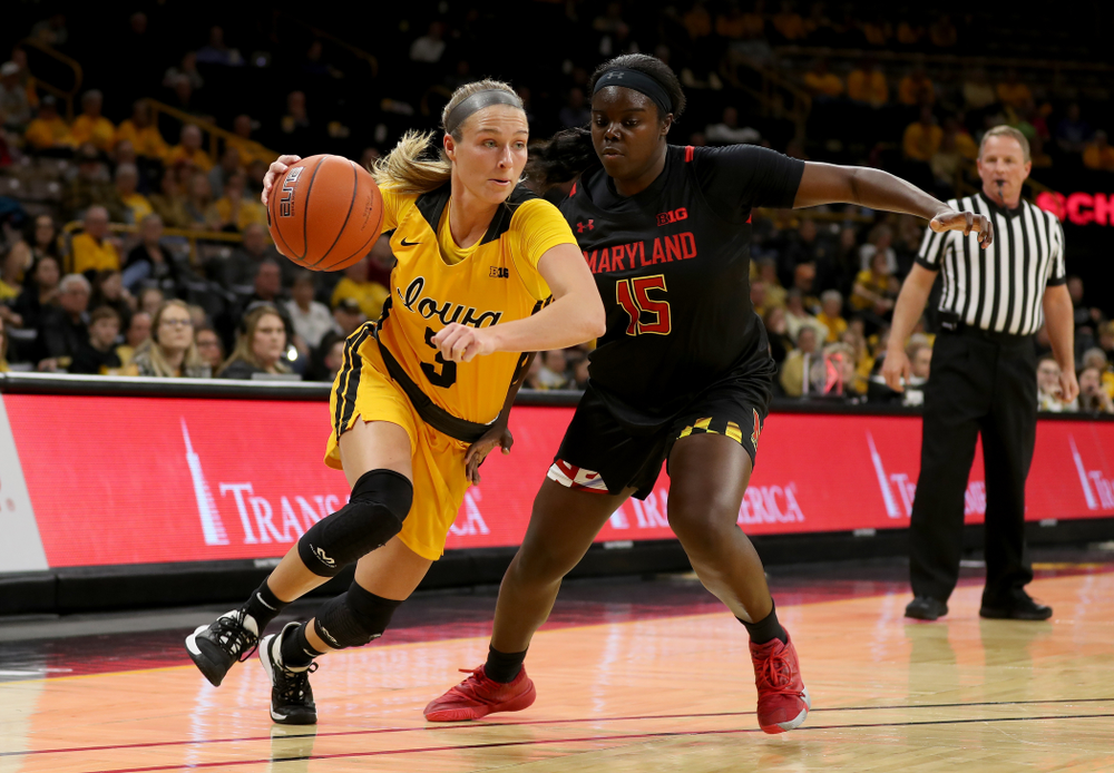 Iowa Hawkeyes guard Makenzie Meyer (3) against the Maryland Terrapins Thursday, January 9, 2020 at Carver-Hawkeye Arena. (Brian Ray/hawkeyesports.com)
