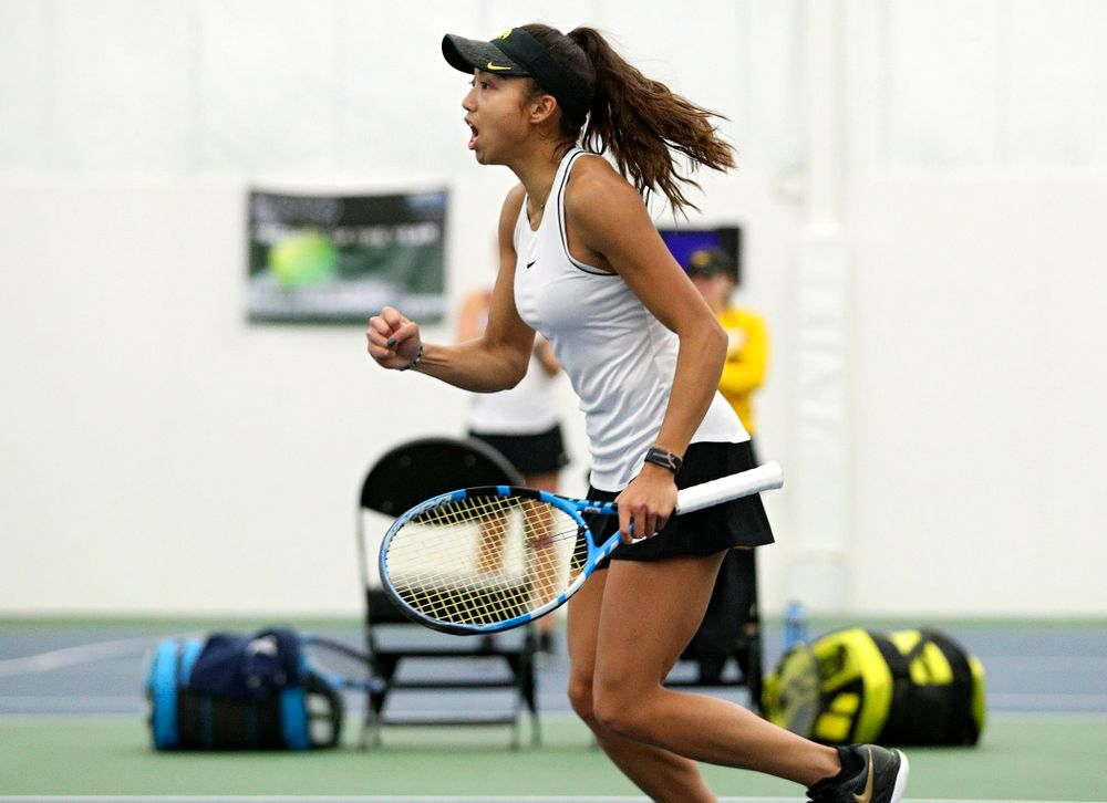 Iowa's Michelle Bacalla celebrates a point during her doubles match at the Hawkeye Tennis and Recreation Complex in Iowa City on Sunday, February 16, 2020. (Stephen Mally/hawkeyesports.com)
