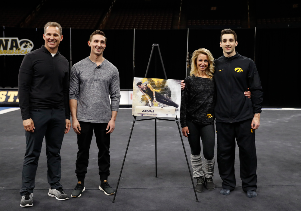Iowa's Austin Hodges and his family during senior day activities