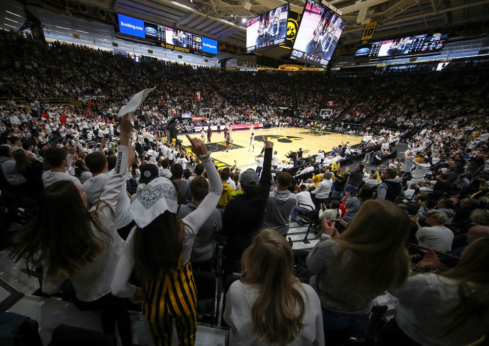 The Hawks Nest cheers after an Iowa score during the first quarter of the game at Carver-Hawkeye Arena in Iowa City on Sunday, February 2, 2020. (Stephen Mally/hawkeyesports.com)