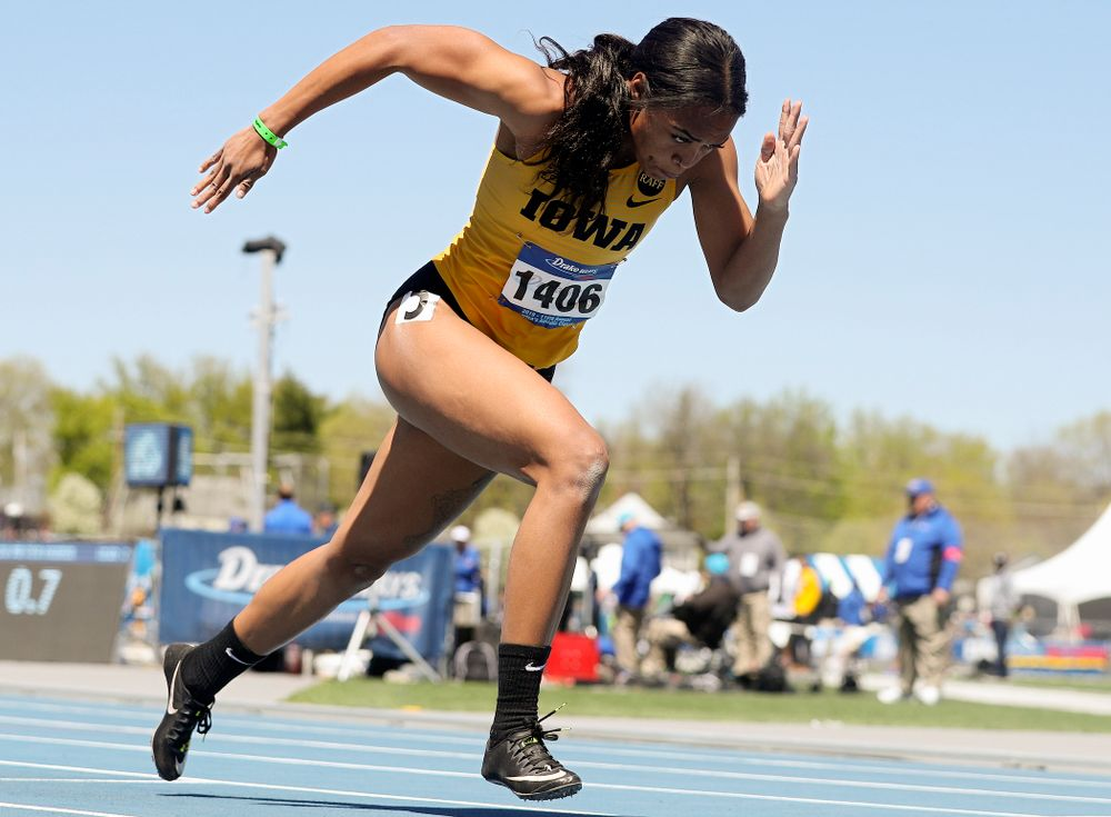 Iowa's Tria Simmons runs in the women's 400 meter hurdles event during the second day of the Drake Relays at Drake Stadium in Des Moines on Friday, Apr. 26, 2019. (Stephen Mally/hawkeyesports.com)
