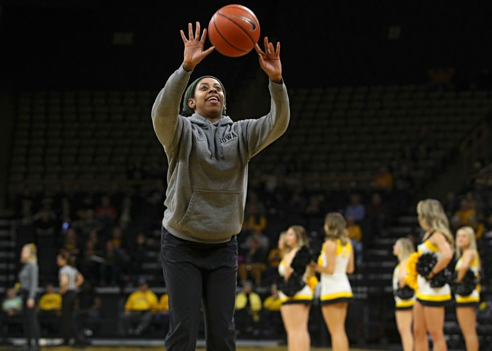 Iowa Volleyball's Griere Hughes shoots a free throw during a timeout in the second quarter of the game at Carver-Hawkeye Arena in Iowa City on Thursday, February 6, 2020. (Stephen Mally/hawkeyesports.com)