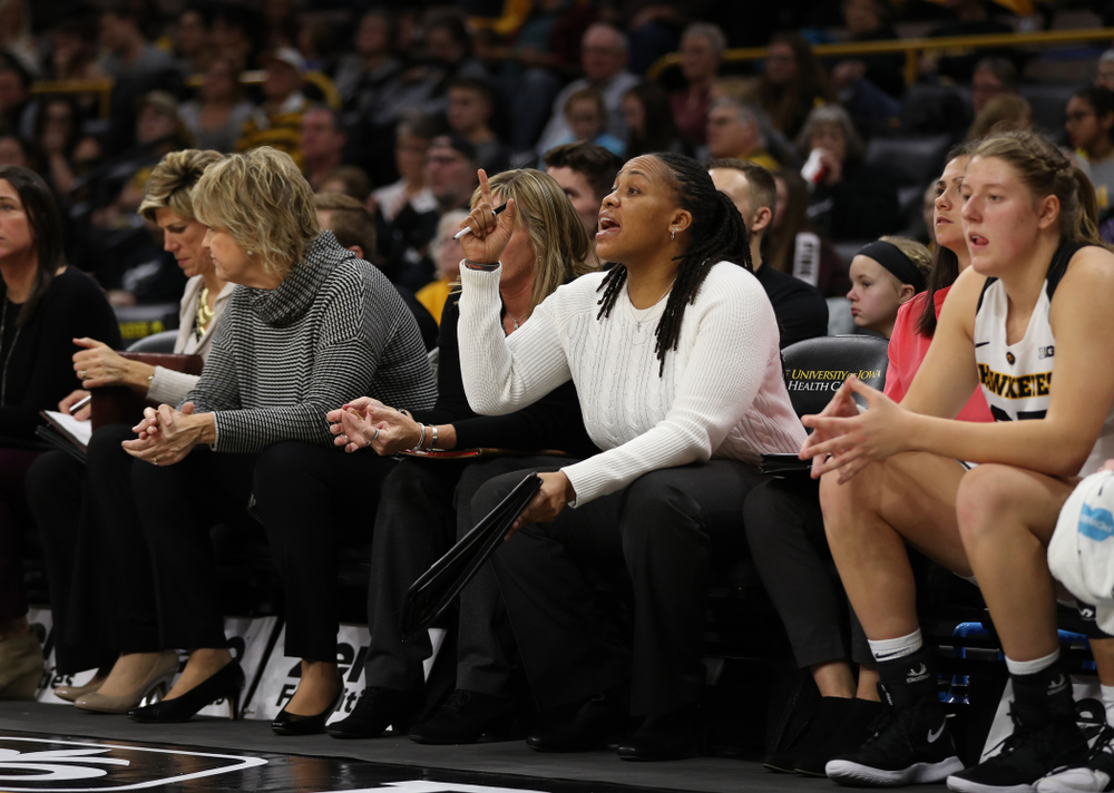 Iowa Hawkeyes assistant coach Raina Harmon against the Nebraska Cornhuskers Thursday, January 3, 2019 at Carver-Hawkeye Arena. (Brian Ray/hawkeyesports.com)