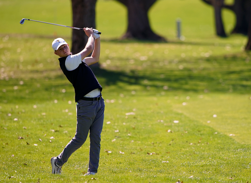 Iowa's Benton Weinberg hits from the fairway during the first round of the Hawkeye Invitational at Finkbine Golf Course in Iowa City on Saturday, Apr. 20, 2019. (Stephen Mally/hawkeyesports.com)