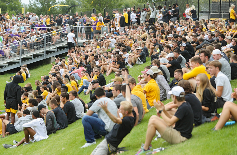 Student-athletes watch the Iowa Women's Soccer team during the Student-Athlete Kickoff at the Iowa Soccer Complex in Iowa City on Sunday, Aug 25, 2019. (Stephen Mally/hawkeyesports.com)
