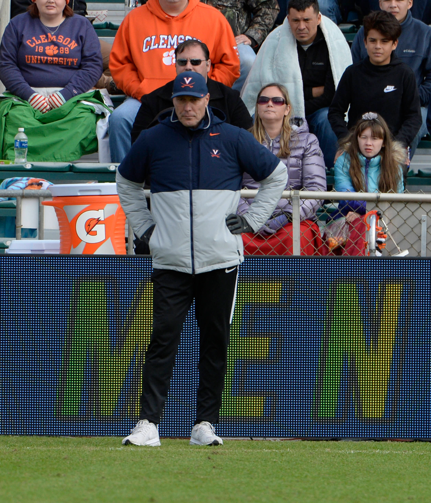 Virginia head coach George Gelnovatch watches his team during the 2019 ACC Men?s Soccer Championship at WakeMed Soccer Park in Cary, N.C., Sunday Nov. 17, 2019. (Photo by Sara D. Davis, the ACC)